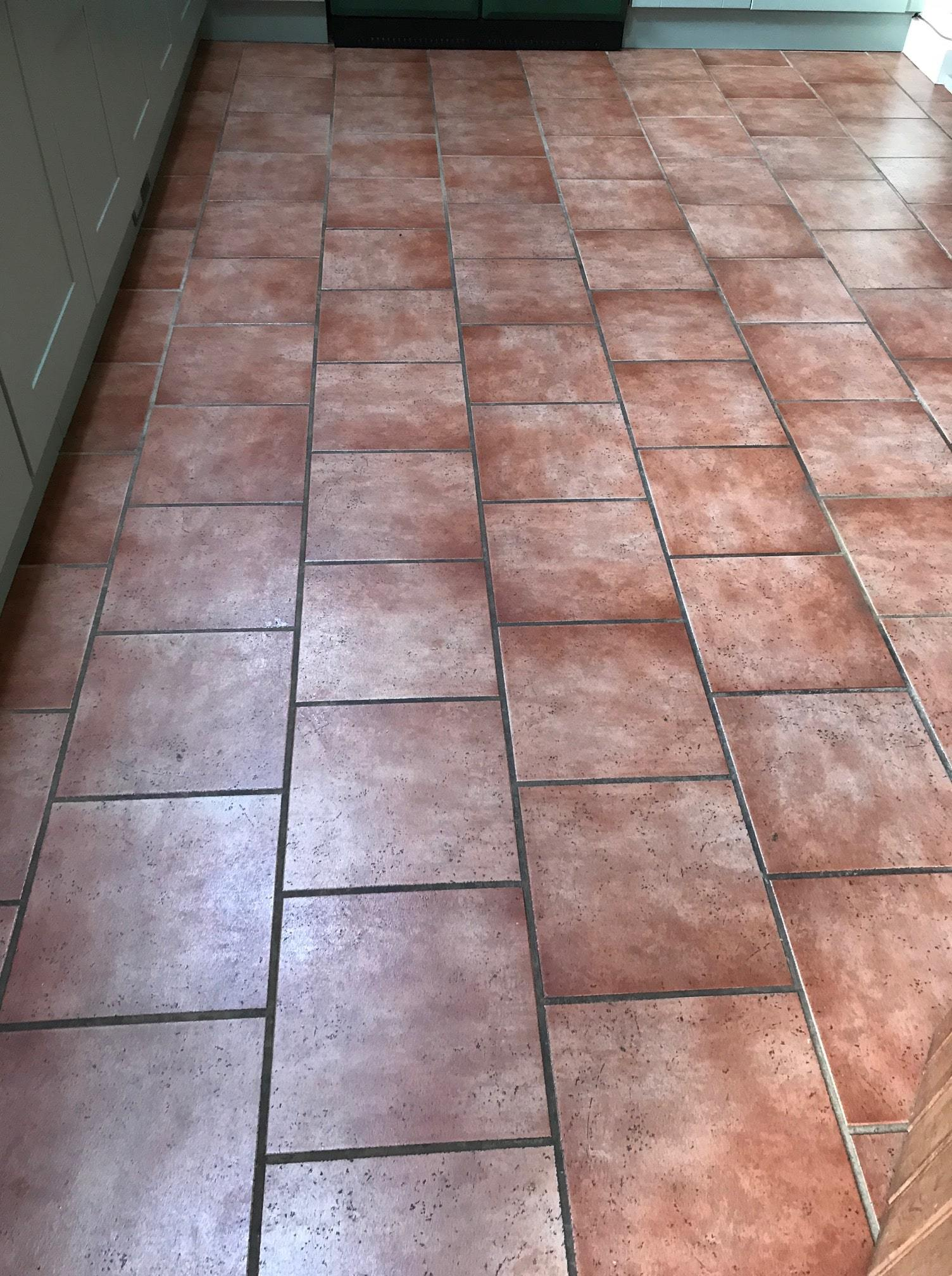 Ceramic Tiled Kitchen Floor Before Grout Colouring