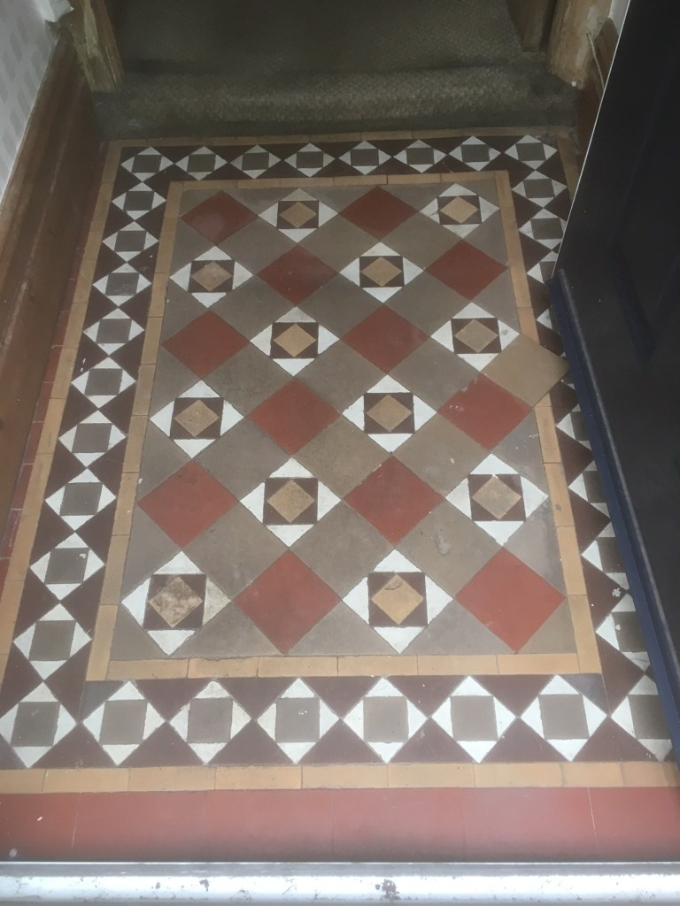 Edwardian Tiled Floor Before Cleaning