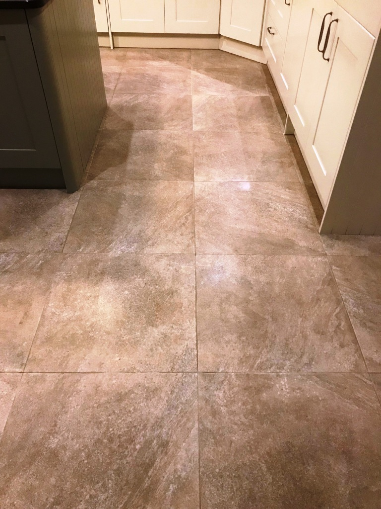 Grout Stained Textured Porcelain Tiled Floor After Cleaning Jesmond
