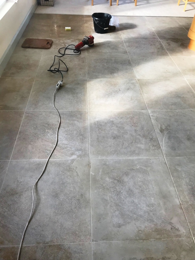 Grout Stained Textured Porcelain Tiled Floor Before Cleaning Jesmond