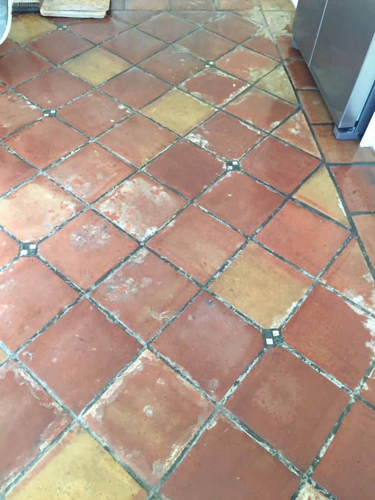 Mexican Terracotta Floor Before Cleaning