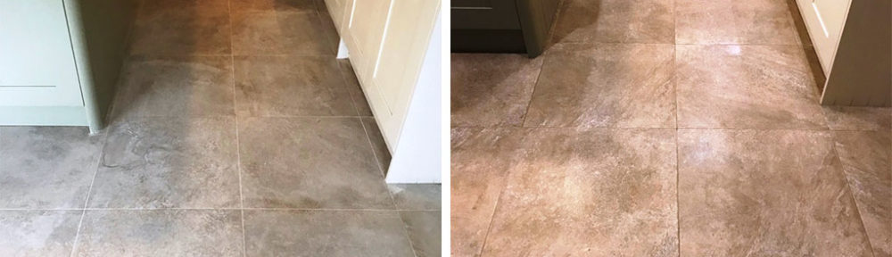 Textured Porcelain Kitchen Tiles Before After Grout Removal Jesmond
