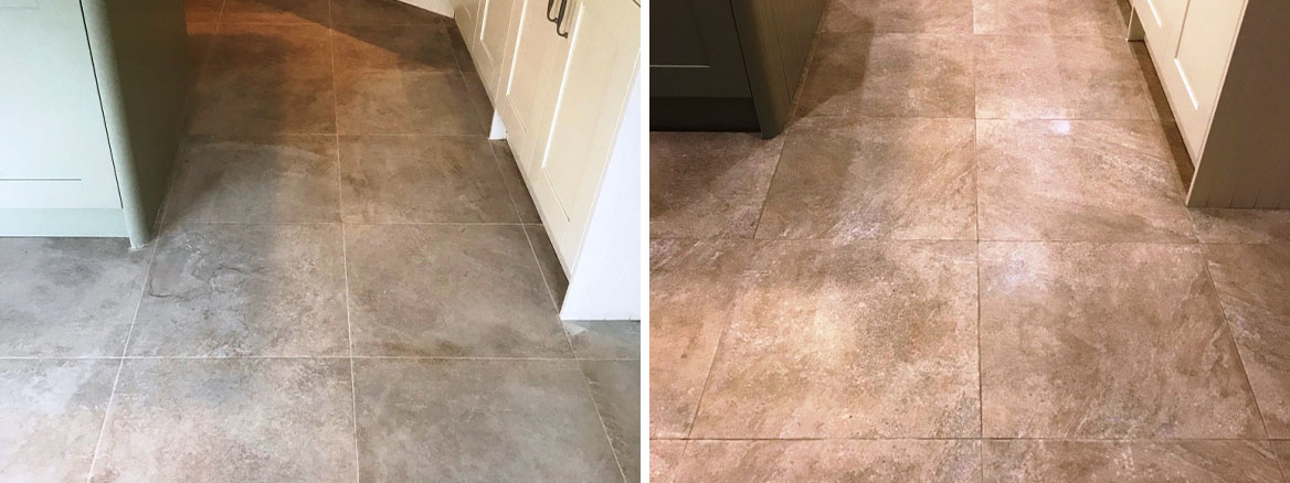 Grout Stained Textured Porcelain Tiled Floor Before After Cleaning Jesmond